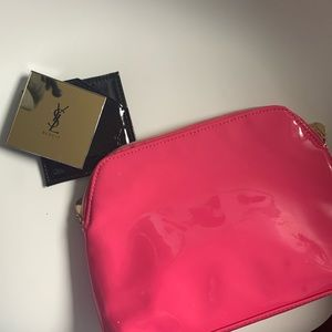 YSL pink cosmetics case and mirror